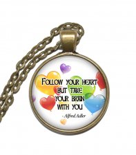 Halsband Brons Silver Citat Quote Alfred Adler Follow Your Heart