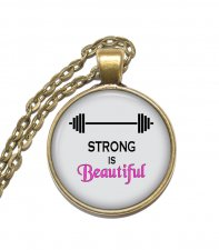 Halsband Silver Brons Strong is Beautiful Gym Träning Hälsa