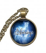 Halsband Brons Silver Always Patronus Citat Quote Harry Potter