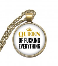 Halsband Brons Silver Citat Text Queen of Fucking Everything