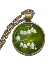 Halsband Brons Silver Liljekonvalj Lily of the Valley Blommor