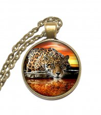 Halsband Brons Silver Leopard Rovdjur