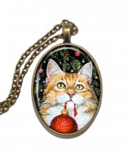 Halsband Nickelfritt Altered Art Jul Katt Julgranskula