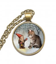 Halsband Altered Art Tomte Jul Katt